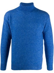 Laneus Slim Fit Roll Neck Jumper Blue