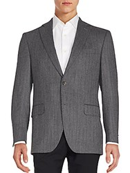 Saks Fifth Avenue Wool And Alpaca Wool Jacket Grey