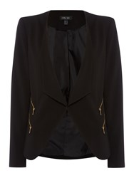 Episode Waterfall Blazer With Zip Pockets Black