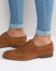 Asos Brogue Shoes In Relaxed Tan Suede With Natural Sole Tan