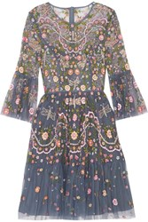Needle And Thread Dragonfly Garden Embellished Embroidered Tulle Mini Dress Storm Blue