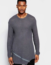 Asos Ribbed Jumper With Front Zip Detail Grey