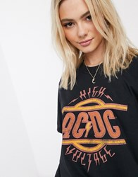Daisy Street Relaxed T Shirt With Acdc Print Black