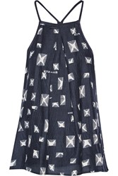 10 Crosby By Derek Lam Printed Silk And Cotton Blend Racer Back Camisole Blue