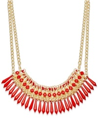 Bar Iii Gold Tone Red Bead Fabric Wrapped Statement Necklace