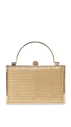 Whiting And Davis Bond Street Box Clutch Gold