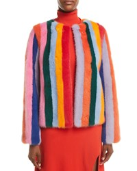 Carolina Herrera Multicolor Stripes Mink Fur Jacket