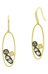Freida Rothman Rose Dor Open Drop Earrings Black Rhodium Gold