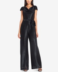 Tahari By Arthur S. Levine Asl Cowl Neck Metallic Jumpsuit Black