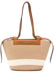 Elena Ghisellini Panelled Woven Tote Brown