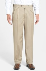 Men's Big And Tall Berle Self Sizer Waist Pleated Wool Gabardine Trousers Tan