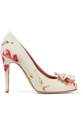 Red Valentino Redvalentino Bow Embellished Floral Print Canvas Pumps Multi
