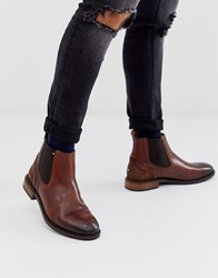 Tommy Hilfiger Leather Chelsea Boot In Brown