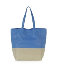 Le Parmentier Large Color Block Nappa Leather Tote Taupe Blue