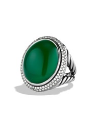 David Yurman Dy Signature Oval Ring With Green Onyx And Diamonds Carnelian