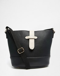 Pieces Cross Body Bag With White Fastening Detail Black White