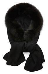 Women's Dena Hooded Scarf With Genuine Fox Fur Trim