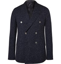 Caruso Navy Butterfly Slim Fit Double Breasted Slub Wool Blazer Navy