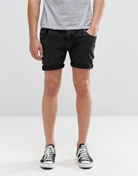 Brave Soul Skinny Fit Denim Shorts In Black Acid Wash Black