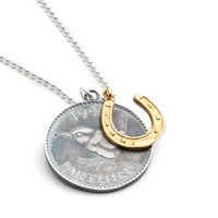 Harry Rocks Lucky Wren Coin And Gold Horseshoe Charm Necklace Gold Silver