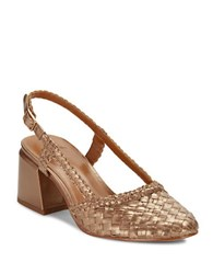 H Halston Woven Leather High Heel Slingbacks Metallic Nude