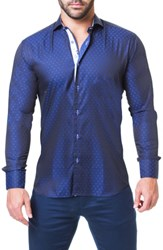 Maceoo Einstein Addition Trim Fit Sport Shirt Blue