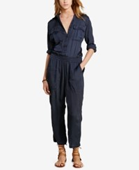 Denim And Supply Ralph Lauren Satin Utility Jumpsuit Blue
