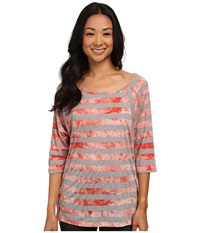 Lole Alicia Top Mandarino Stripe Women's Long Sleeve Pullover Pink