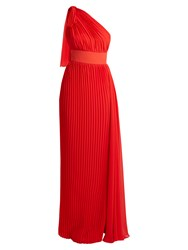 Elie Saab One Shoulder Pleated Georgette Gown Red