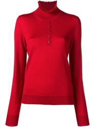 Carven Ruffled Neck Jumper Red