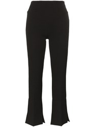 Roland Mouret Goswell Flared Split Hem Trousers Black