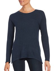 Splendid Crewneck Waffle Knit Sweater Heather Navy