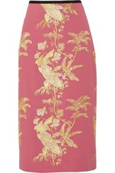 Erdem Safia Metallic Embroidered Crepe Midi Skirt Pink