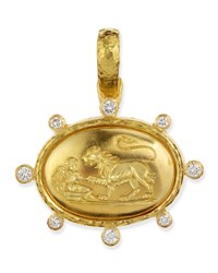 Elizabeth Locke 19K Gold Eros And Lion Pendant With Diamonds