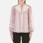 Marc Jacobs Women's Semi Embellished Button Down Blouse White Multi