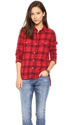Sundry Plaid Flannel Button Down Fire