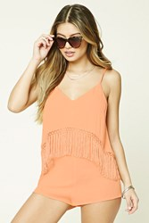 Forever 21 Fringe Cover Up Romper Coral