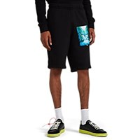 Off White C O Virgil Abloh Waterfall Print Cotton Terry Sweatshorts Black