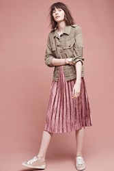 Anthropologie Pleated Velvet Midi Skirt Raspberry