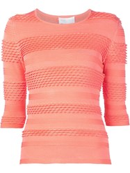 Christian Siriano Textured Knit Top Yellow And Orange