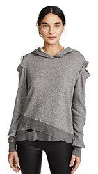 Wilt Ruffle Cold Shoulder Hoodie Charcoal Heather