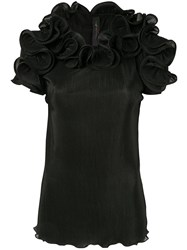 Romance Was Born Bloom Pleated Top Black