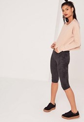 Missguided Cropped Faux Suede Leggings Black