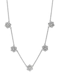 Morris And David Diamond 14K White Gold Cluster Necklace 4Tcw
