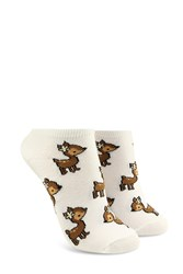 Forever 21 Deer Print Ankle Socks White Multi