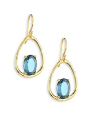 Ippolita Rock Candy Small London Blue Topaz And 18K Yellow Gold Oval Earrings Gold Blue Topaz