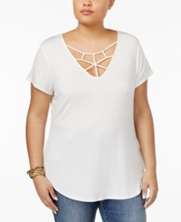 Almost Famous Trendy Plus Size Cage Front Crochet Top Cream