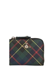 Vivienne Westwood Mini Derby Tartan Coated Canvas Wallet Green