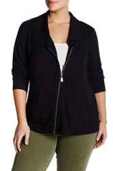 Cable And Gauge Side Zip Tunic Jacket Black