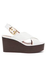 Marni Crossover Strap Leather Slingback Wedge Sandals White